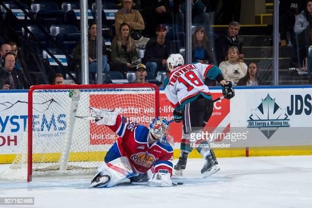 Carsen Twarynski of the Kelowna Rockets fails to score a shoot out goal on Todd Scott of the Edmonton Oil Kings at Prospera Place on February 17 2018...