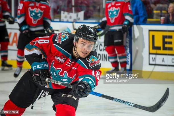 Carsen Twarynski of the Kelowna Rockets warms up with a shot on net against the Prince George Cougars at Prospera Place on November 29, 2017 in...