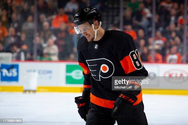 Carsen Twarynski of the Philadelphia Flyers looks on against the Dallas Stars in the second period at the Wells Fargo Center on October 19, 2019 in...
