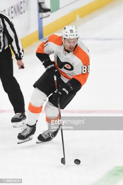 Carsen Twarynski of the Philadelphia Flyers skates against the Boston Bruins at the TD Garden on November 10, 2019 in Boston, Massachusetts.