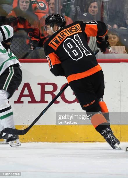 Carsen Twarynski of the Philadelphia Flyers skates against the Dallas Stars on October 19, 2019 at the Wells Fargo Center in Philadelphia,...