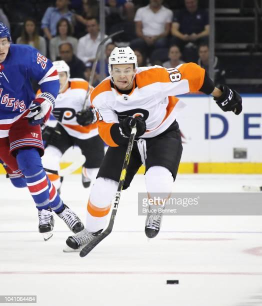 Carsen Twarynski of the Philadelphia Flyers skates against the New York Rangers at Madison Square Garden on September 19, 2018 in New York City. The...