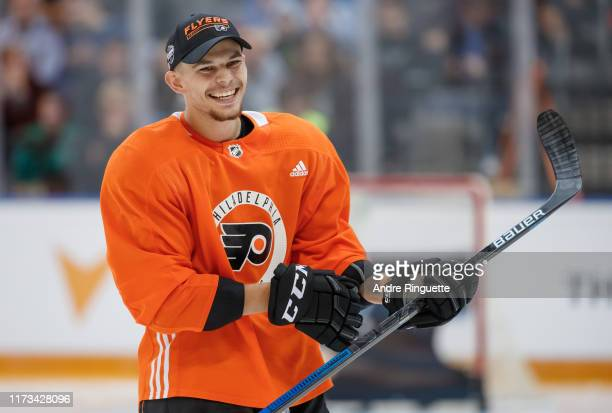 Carsen Twarynski of the Philadelphia Flyers smiles during a skills competition before the Global Series Challenge game against the Chicago Blackhawks...