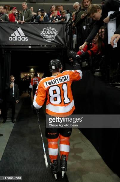 Carsen Twarynski of the Philadelphia Flyers walks toward the locker room prior to the NHL Global Series Challenge 2019 match against the Chicago...