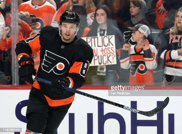Carsen Twarynski of the Philadelphia Flyers warms up against the Dallas Stars on October 19, 2019 at the Wells Fargo Center in Philadelphia,...