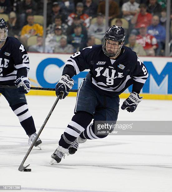 Carson Cooper of the Yale Bulldogs skates against the UMass Lowell River Hawks during the game at Consol Energy Center on April 11 2013 in Pittsburgh...
