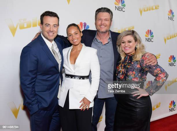 Carson Daly Alicia Keys Blake Shelton and Kelly Clarkson attend NBC's 'The Voice' Season 14 finale taping on May 21 2018 in Universal City California