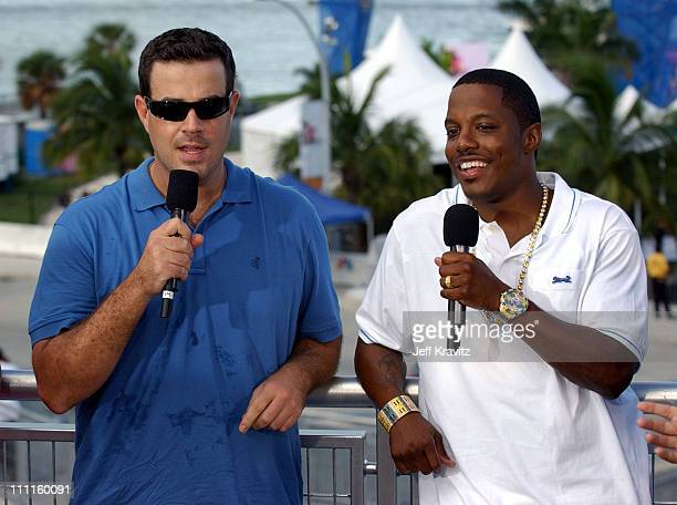Carson Daly and Mase during MTV's TRL 2004 Video Music Awards Edition at American Airlines Arena in Miami Florida United States