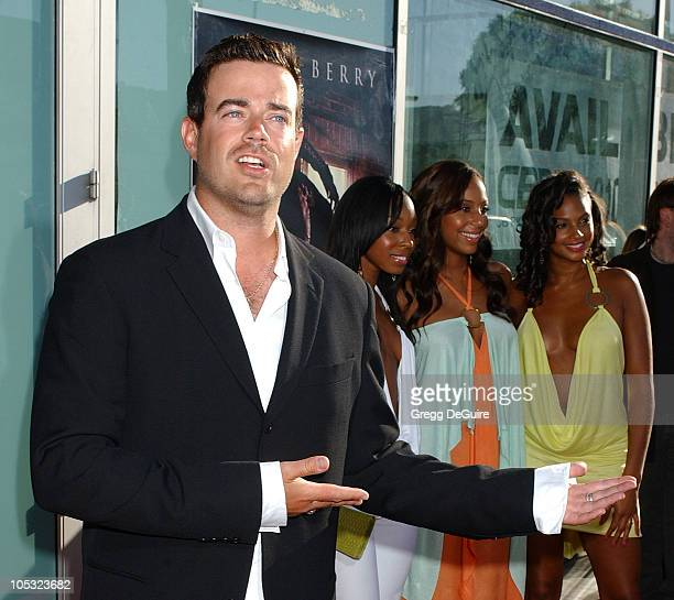 Carson Daly and Misteeq during Catwoman World Premiere Arrivals at Cinerama Dome in Hollywood California United States