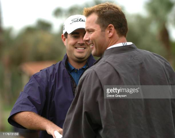 Carson Daly and Roger Clemens in action at the PGA Tour's 45th Bob Hope Chrysler Classic Pro Am at Bermuda Dunes Country Club.