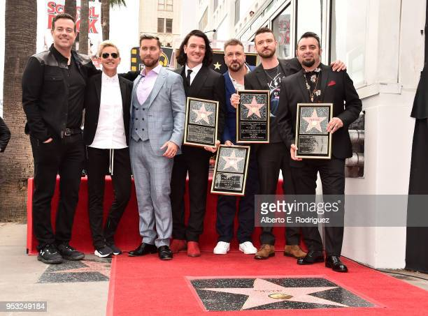 Carson Daly Ellen Degeneres Lance Bass JC Chasez Joey Fatone Justin Timberlake and Chris Kirkpatrick at a ceremony honoring 'NSYNC with a star on the...