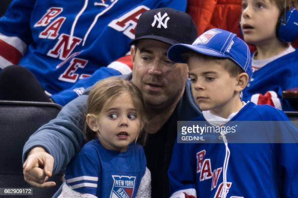 Carson Daly, Jackson Daly and Etta Daly attend Pittsburgh Penguins Vs. New York Rangers game at Madison Square Garden on March 31, 2017 in New York...