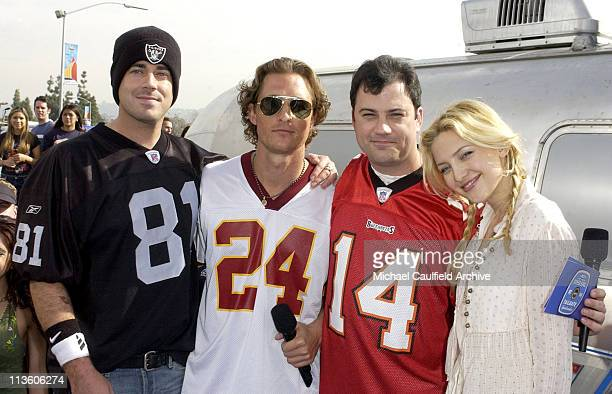 Carson Daly Matthew McConaughey Jimmy Kimmel and Kate Hudson during MTV's First Annual Super Bowl Tailgate Spectacular