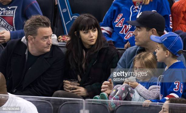 Carson Daly, Matthew Perry, Jackson Daly and Etta Daly attend Pittsburgh Penguins Vs. New York Rangers game at Madison Square Garden on March 31,...