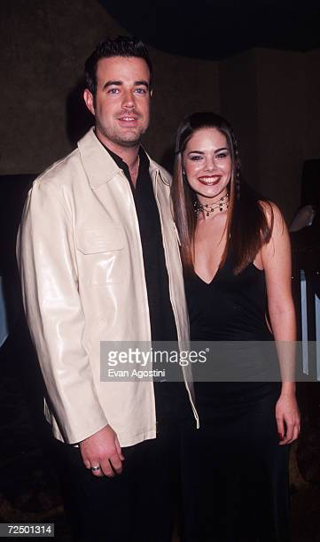 Carson Daly poses with reigning Miss USA Kimberly Ann Pressler January 11 2000 at the 2000 Miss USA pageant launch party in New York City