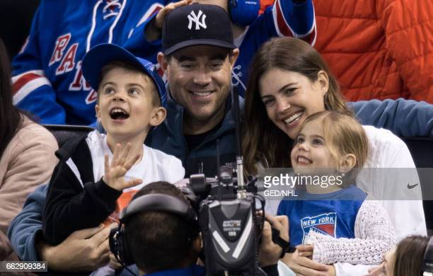 Carson Daly, Siri Pinter, Jackson Daly and Etta Daly attend Pittsburgh Penguins Vs. New York Rangers game at Madison Square Garden on March 31, 2017...