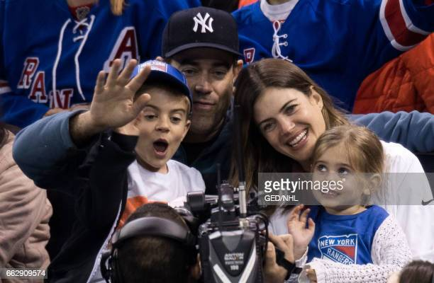 Carson Daly Siri Pinter Jackson Daly and Etta Daly attend Pittsburgh Penguins Vs New York Rangers game at Madison Square Garden on March 31 2017 in...
