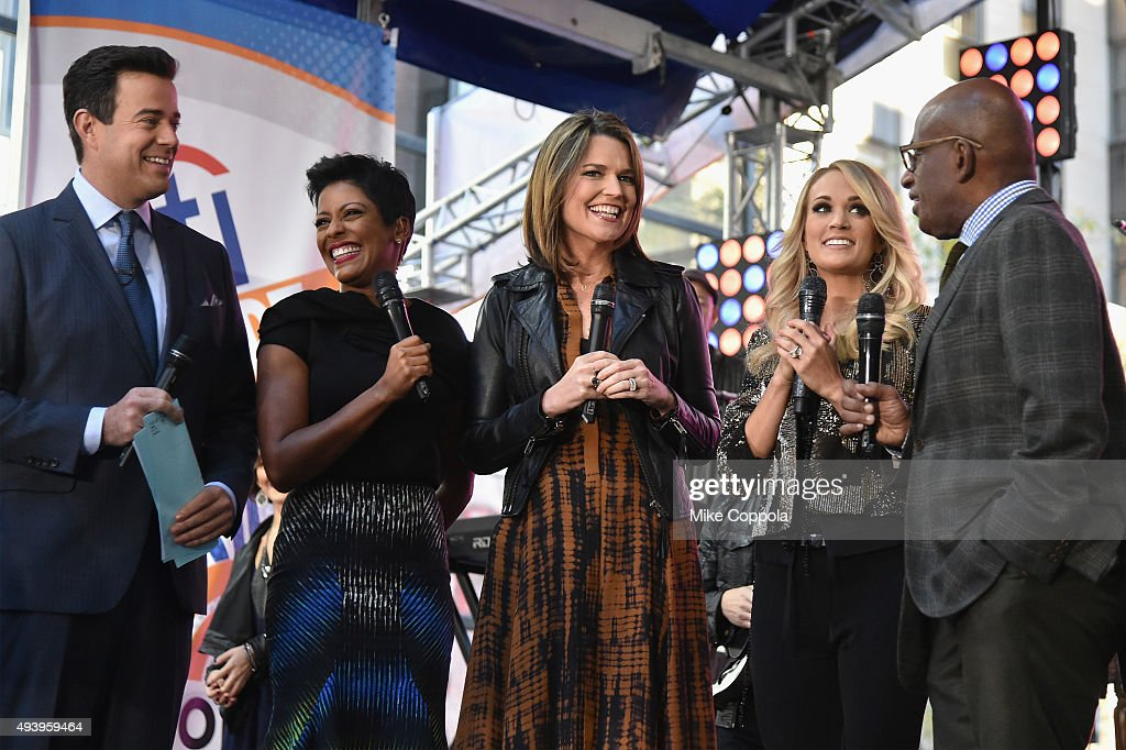 Carson Daly, Tamron Hall, Savannah Guthrie, Carrie Underwood, and Al Roker speak onstage during the Carrie Underwood performance on the Citi Concert Series On Today in Rockefeller Plaza on October 23, 2015 in New York City.