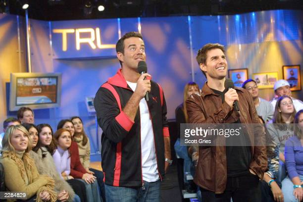 Carson Daly with Tom Cruise on MTV's TRL to promote his new movie Vanilla Sky at the MTV studios in New York City 12/3/01 Photo by Scott...