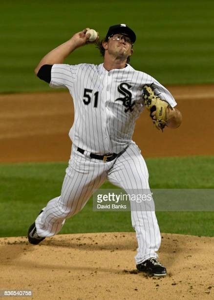 Carson Fulmer of the Chicago White Sox pitches against the Minnesota Twins during the first inning in game two of a doubleheader on August 21 2017 at...