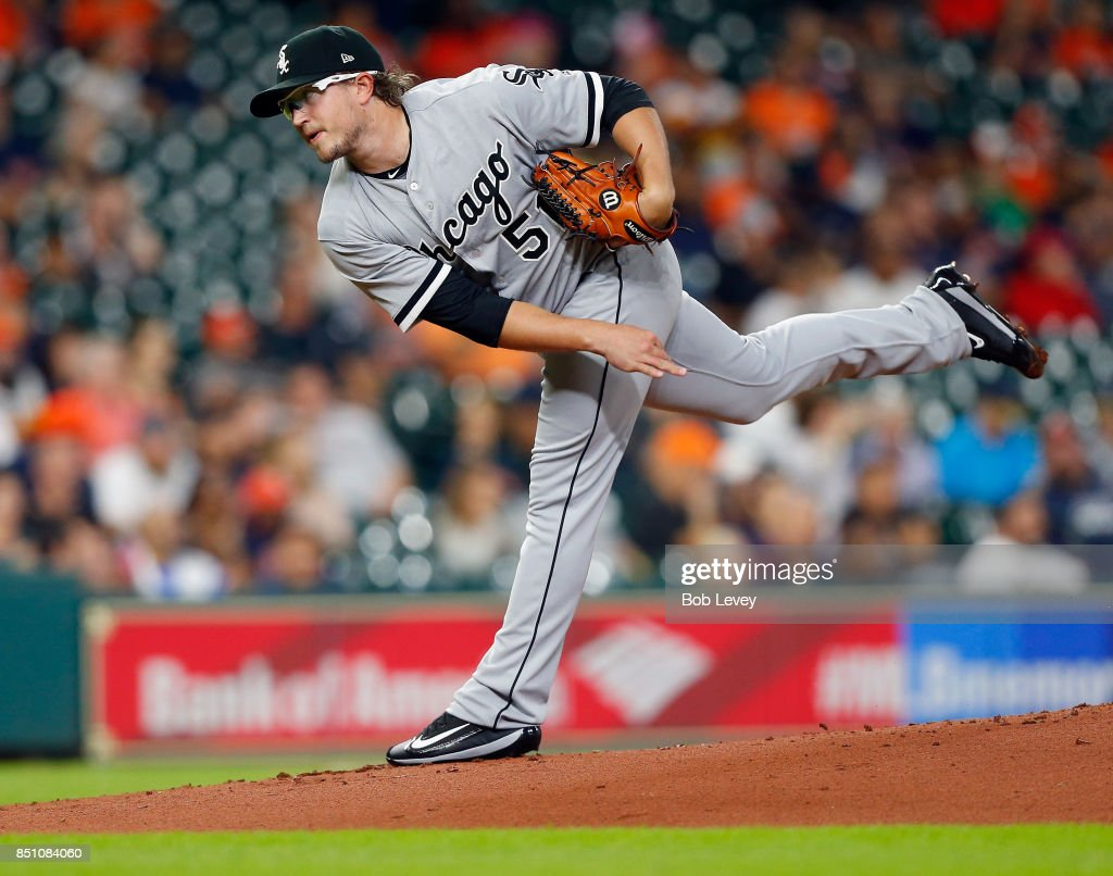 Carson Fulmer #51 of the Chicago White Sox pitches in the first inning against the Houston Astros at Minute Maid Park on September 21, 2017 in Houston, Texas.