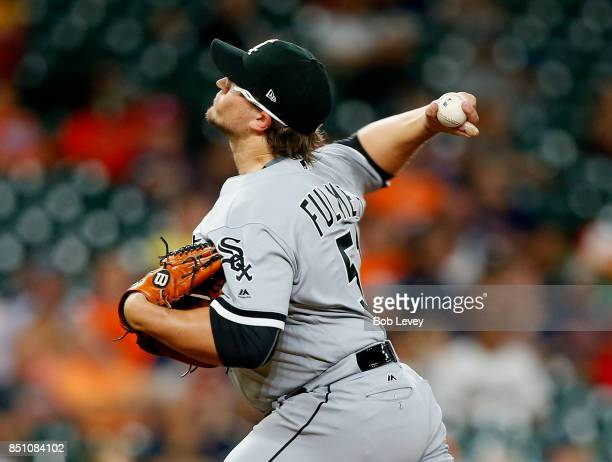 Carson Fulmer of the Chicago White Sox pitches in the first inning against the Houston Astros at Minute Maid Park on September 21 2017 in Houston...