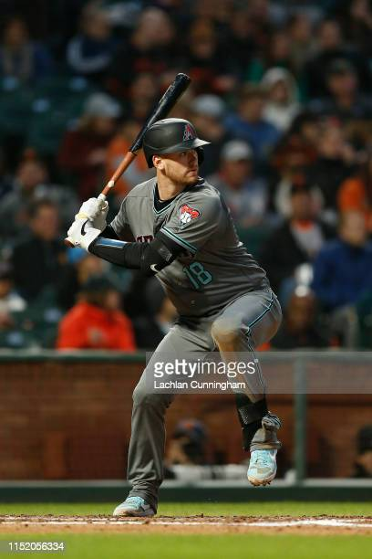 Carson Kelly of the Arizona Diamondbacks at bat against the San Francisco Giants at Oracle Park on May 24 2019 in San Francisco California