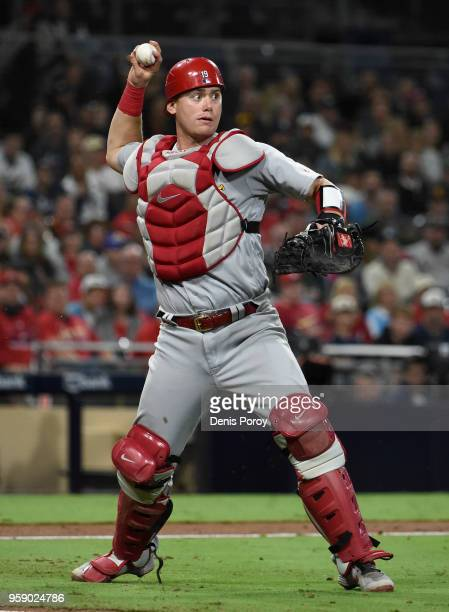 Carson Kelly of the St Louis Cardinals plays during a baseball game against the San Diego Padres at PETCO Park on May 10 2018 in San Diego California...