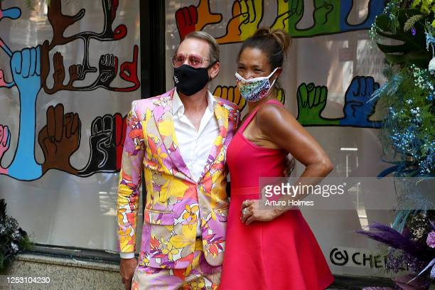 Carson Kressley and Kemberly Richardson pose during the 50th anniversary of the first Pride march on June 28 2020 in New York City Due to the ongoing...