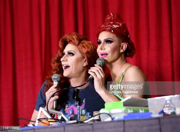 Carson Kressley and Trinity The Tuck Taylor speak during RuPaul's DragCon LA 2019 at Los Angeles Convention Center on May 25 2019 in Los Angeles...