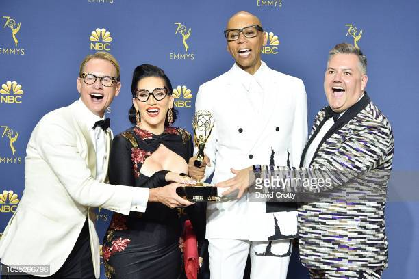 Carson Kressley Michelle Visage RuPaul and Ross Mathews attend the 70th Emmy Awards Press Room at Microsoft Theater on September 17 2018 in Los...