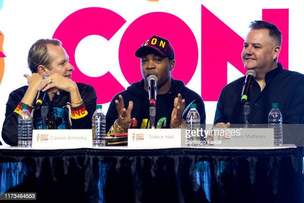 Carson Kressley Todrick Hall and Ross Mathews at RuPaul's DragCon 2019 at The Jacob K Javits Convention Center on September 08 2019 in New York City