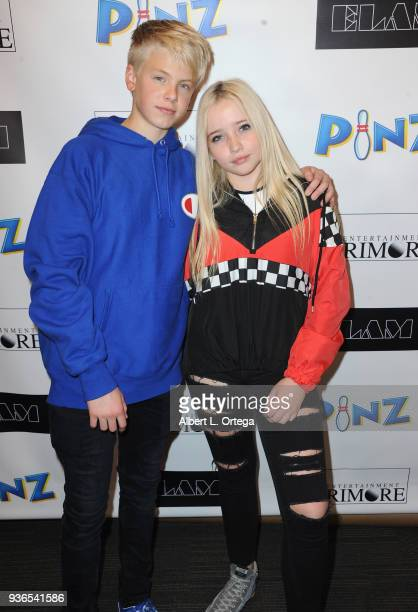 Carson Lueders and Elam Roberson attend the Birthday Party For Elam Roberson held at Pinz Bowling on March 21 2018 in Los Angeles California