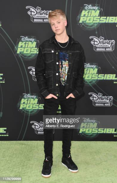 Carson Lueders attends the premiere of Disney Channel's Kim Possible at The Television Academy on February 12 2019 in Los Angeles California