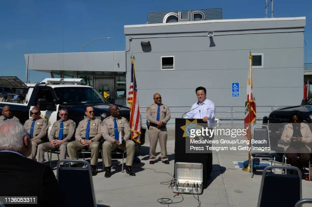 Carson Mayor, Albert Robles speaks during a press conference held by the California Highway Patrol and the California Department of Transportation...