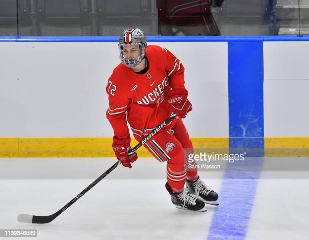 Carson Meyer of the Ohio State Buckeyes warms up before an NCAA Division I Men's Ice Hockey West Regional Championship Semifinal game between the...
