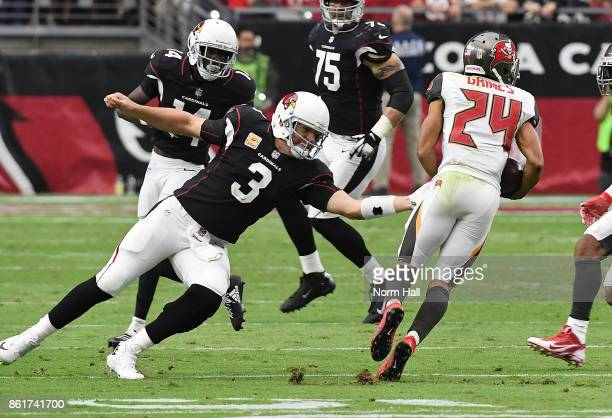 Carson Palmer of the Arizona Cardinals attempts to tackle Brent Grimes of the Tampa Bay Buccaneers who picked off a pass during the fourth quarter at...