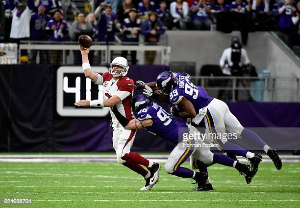 Carson Palmer of the Arizona Cardinals throws the ball away in the fourth quarter of the game against the Minnesota Vikings on November 20, 2016 at...