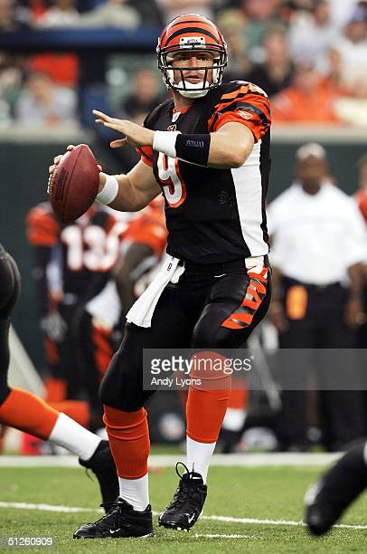 Carson Palmer of the Cincinnati Bengals drops back to pass against the Indianapolis Colts at Paul Brown Stadium on September 3, 2004 in Cincinnati,...