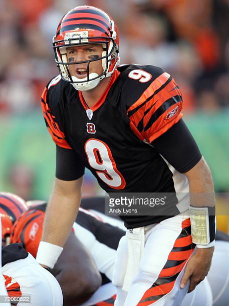 Carson Palmer of the Cincinnati Bengals gives instructions to his team during the game against the New England Patriots October 1, 2006 at Paul Brown...