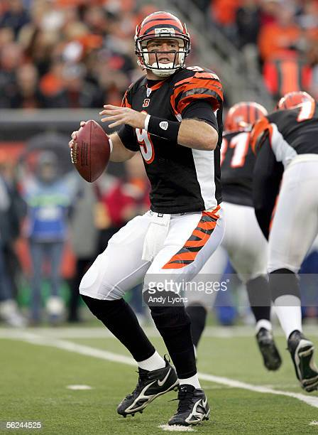 Carson Palmer of the Cincinnati Bengals looks to pass against the Indianapolis Colts during the NFL game at Paul Brown Stadium on November 20, 2005...