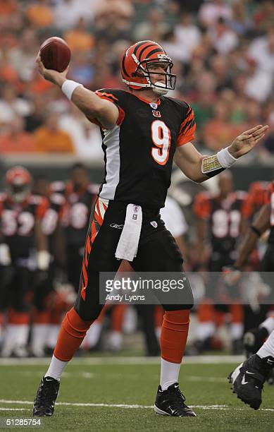 Carson Palmer of the Cincinnati Bengals passes against the Indianapolis Colts during the preseason NFL game at Paul Brown Stadium on September 3,...