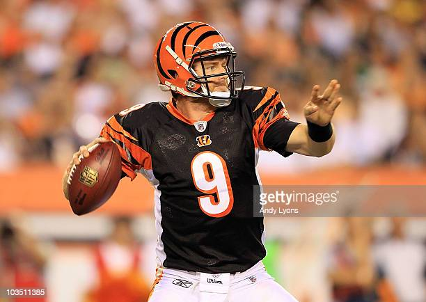 Carson Palmer of the Cincinnati Bengals throws a pass during the NFL preseason game against the Philadelphia Eagles at Paul Brown Stadium on August...