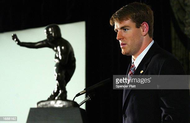 Carson Palmer of the University of Southern California speaks with the press after winning the 68th annual Heisman Trophy Award at The Yale Club...