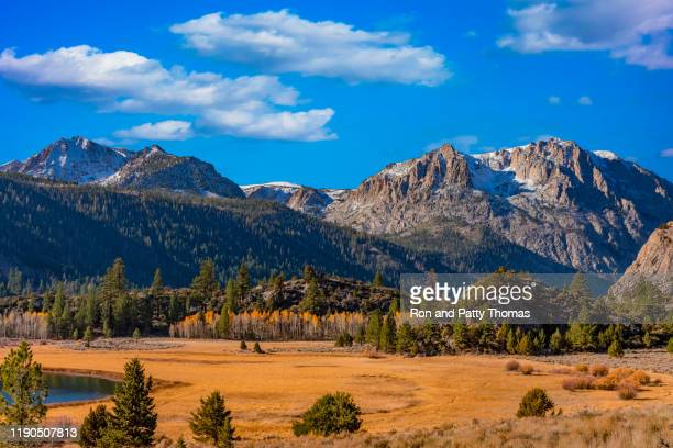 carson peak with aspen trees at june lake ca - carson california stock pictures, royalty-free photos & images
