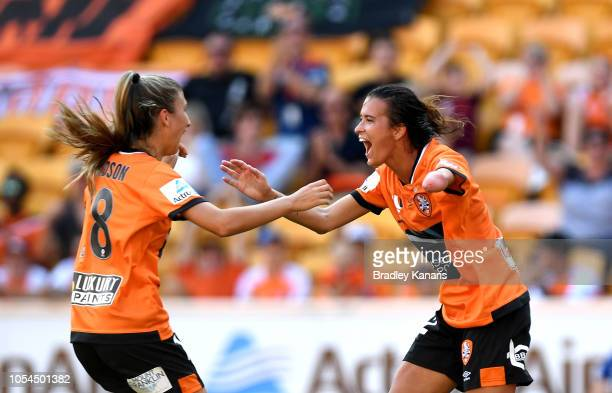 Carson Pickett of the Roar celebrates scoring a goal during the round one WLeague match between the Brisbane Roar and the Perth Glory at Suncorp...
