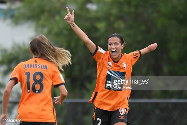 Carson Pickett of the Roar celebrates scoring her team's first goal during the round 13 W-League match between the Brisbane Roar and Canberra United...