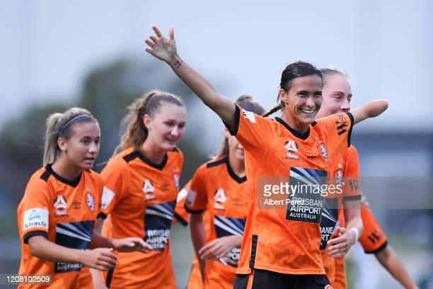 Carson Pickett of the Roar celebrates scoring her team's third goal during the round 13 W-League match between the Brisbane Roar and Canberra United...