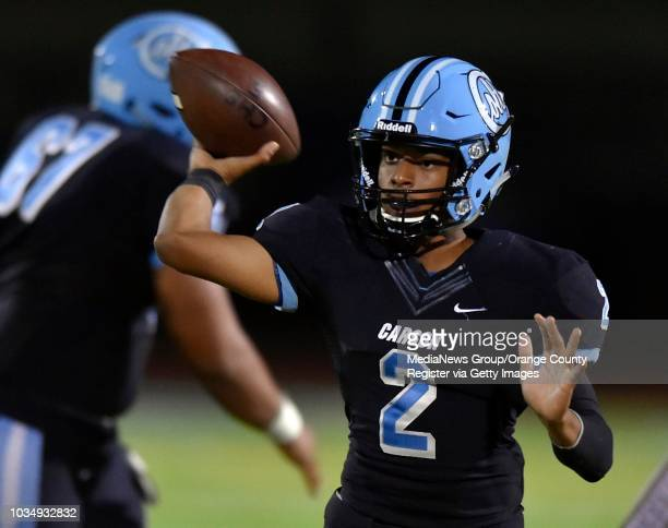 Carson QB Jaja Bellinger dumps off a short pass in Carson on Friday September 30 2016 West beat Carson 2421 in a non league football game 2nd half