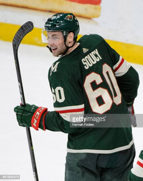 Carson Soucy of the Minnesota Wild looks on after the game against the Edmonton Oilers on April 2, 2018 at Xcel Energy Center in St Paul, Minnesota....